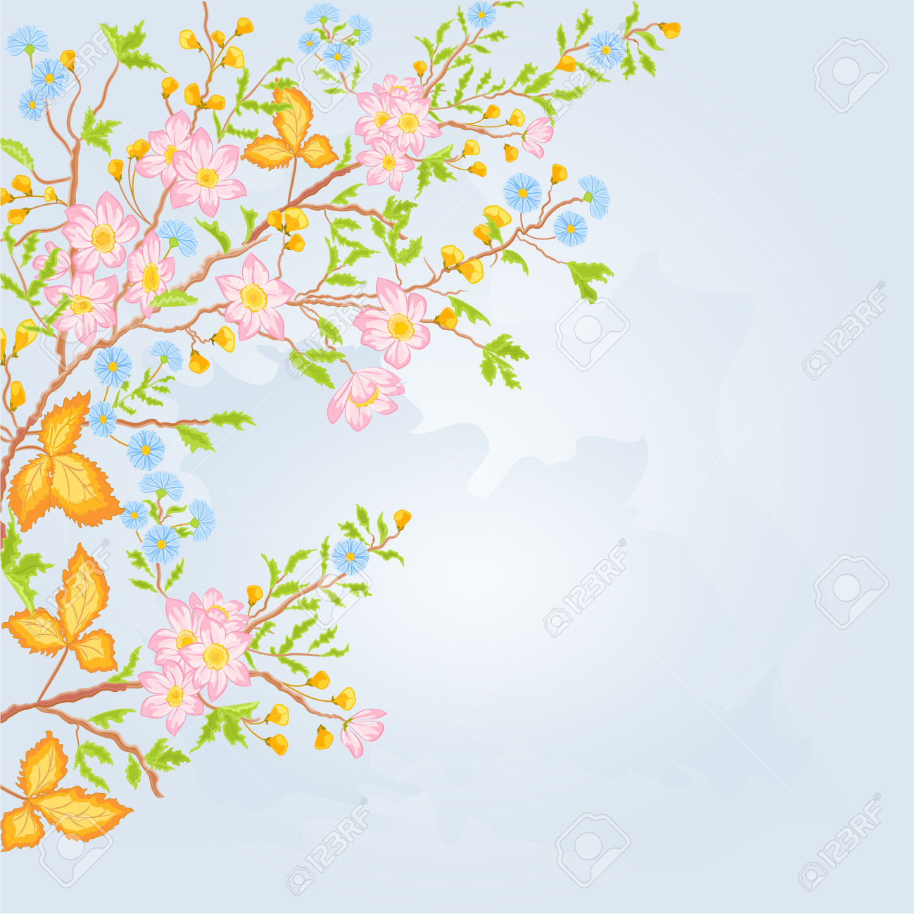 Twig Shrub Whit Spring Flowers Background Spring Theme Vector.