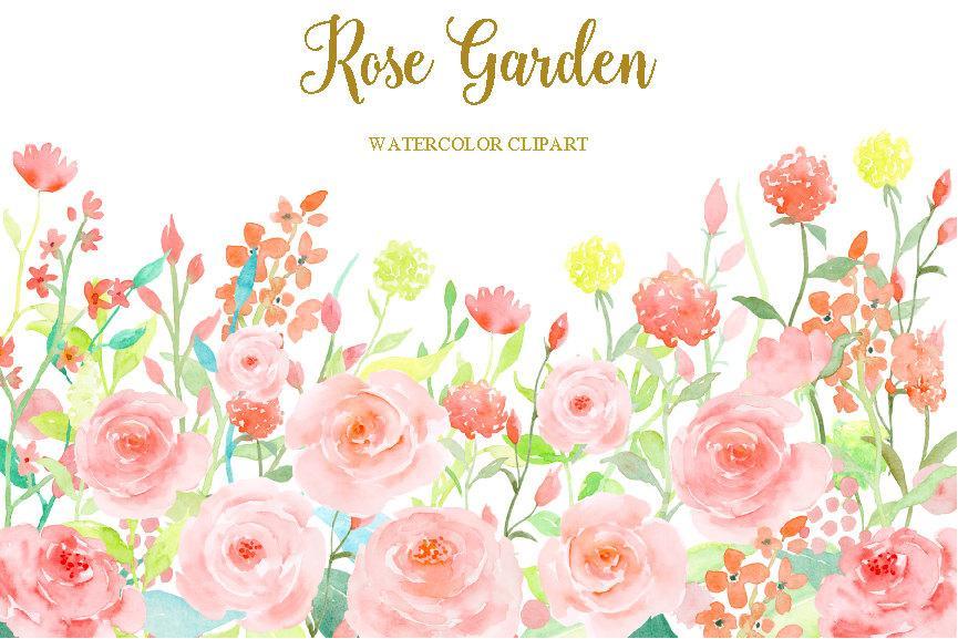 Watercolor Rose Garden, Watercolor Clipart, Soft Pink Flower.
