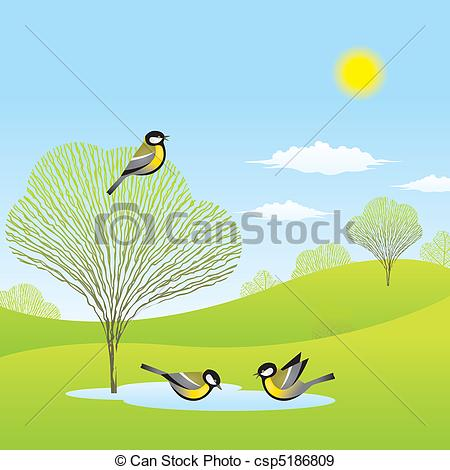 EPS Vectors of Spring forest landscape with birds which swash in a.