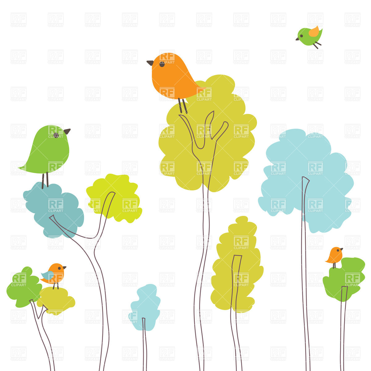 Spring Birds Clipart.
