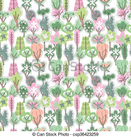 Clipart Vector of Seamless pattern with spring forest.