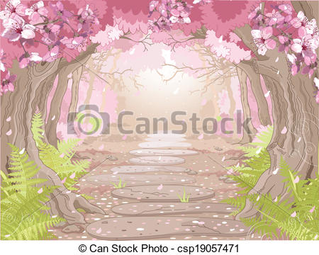 Vectors Illustration of Magic spring forest.