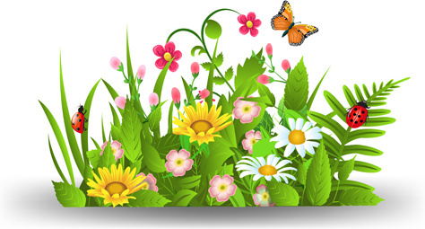 Spring flowers grass butterflies clip art free vector download.