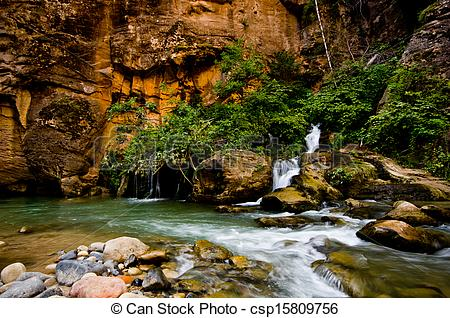 Stock Images of Big Spring in Zion Canyon, taken during The.