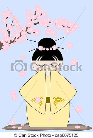 Clipart Vector of Japan spring.