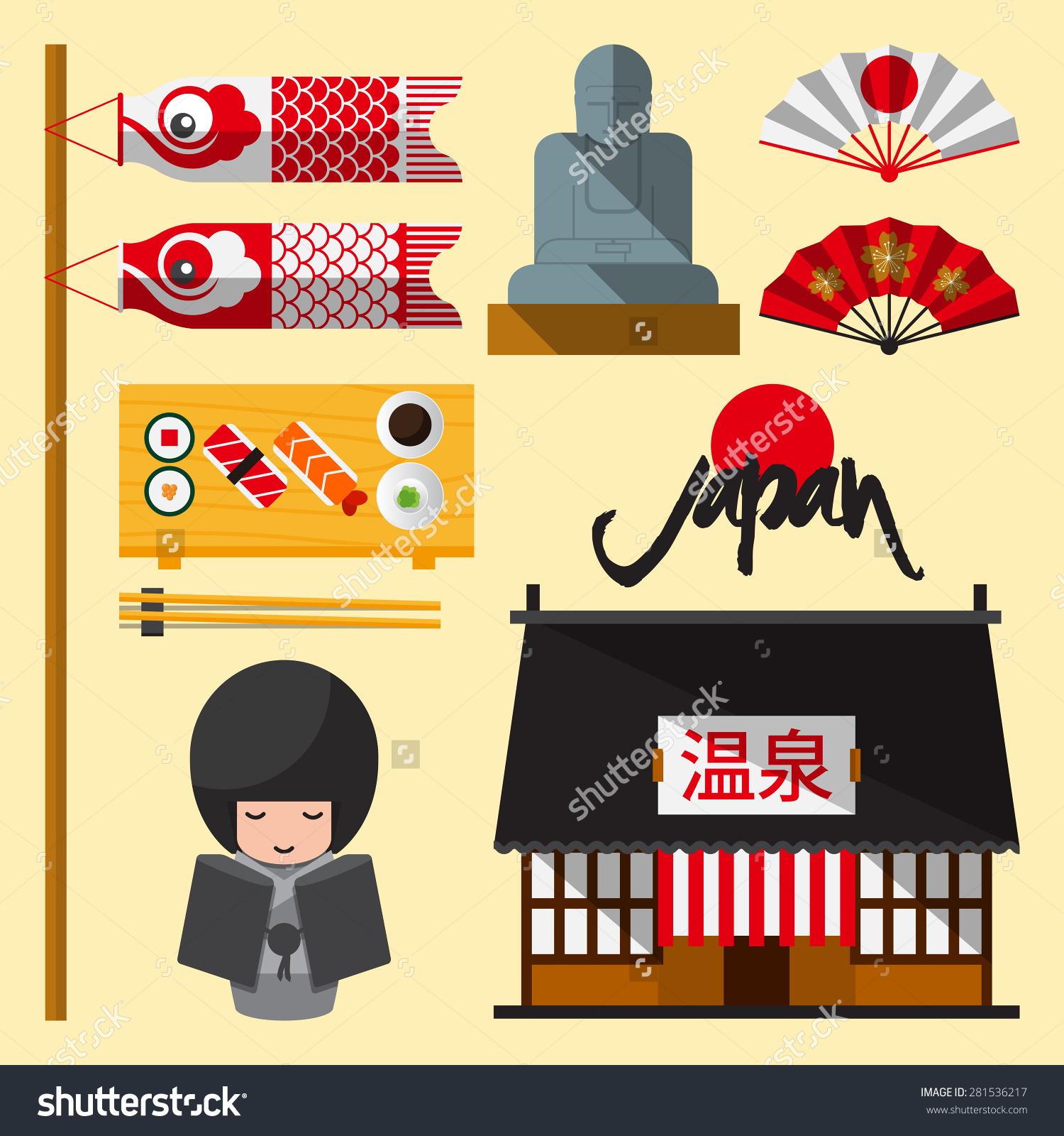 Set Japan Icon Flat Design Japanese Stock Vector 281536217.