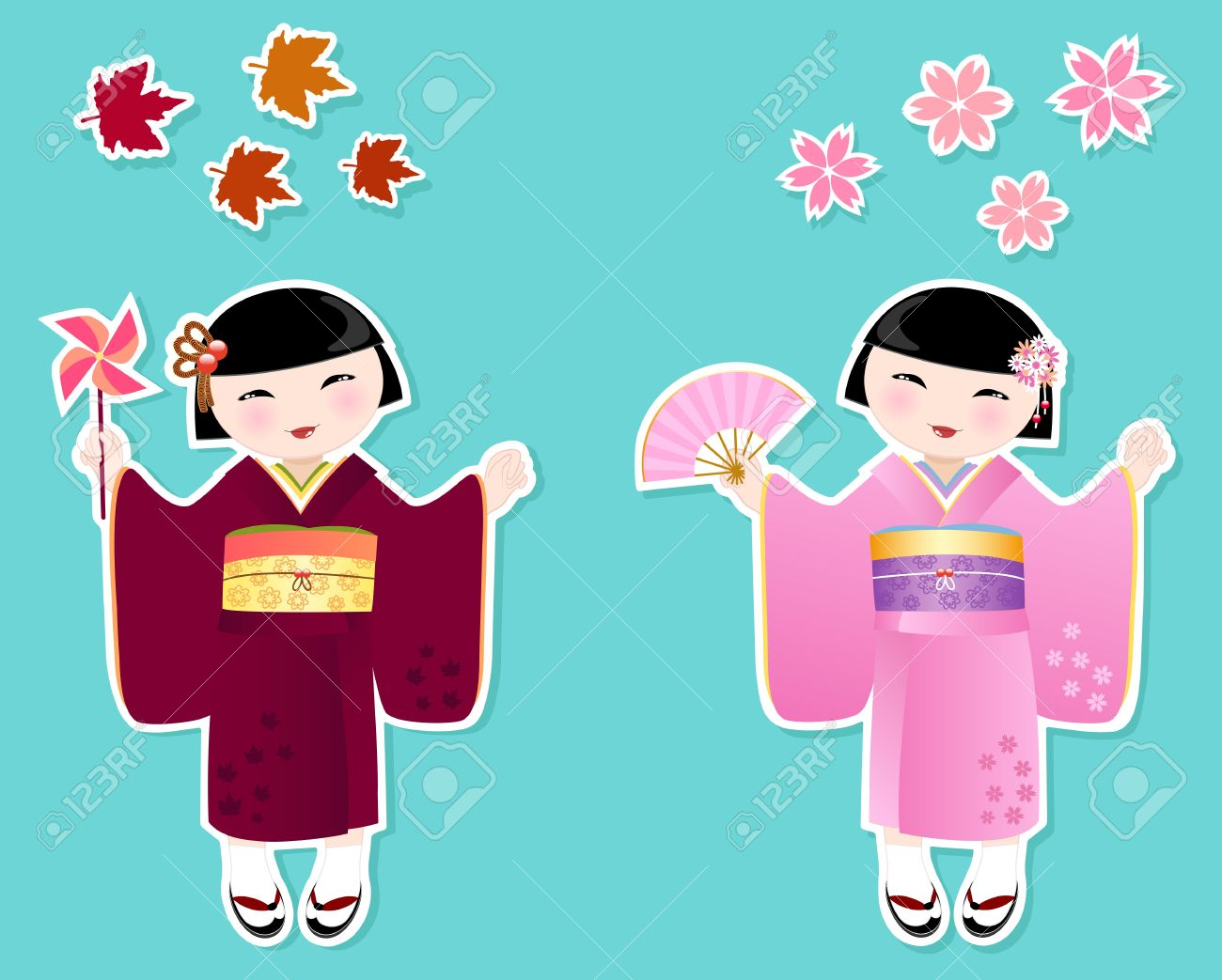 Japanese Girls In Kimonos Of Autumn And Spring Royalty Free.