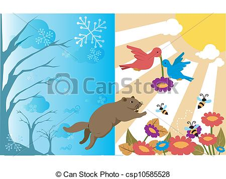 Clip Art of Animals going from winter to spring csp10585528.