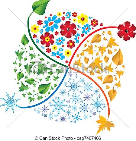 Clip Art Vector of Four seasons. Spring, summer, autumn, winter.