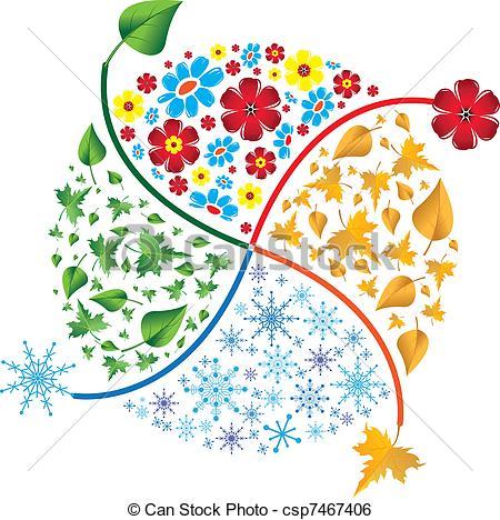 Clip Art Vector of Four seasons. Spring, summer, autumn, winter.