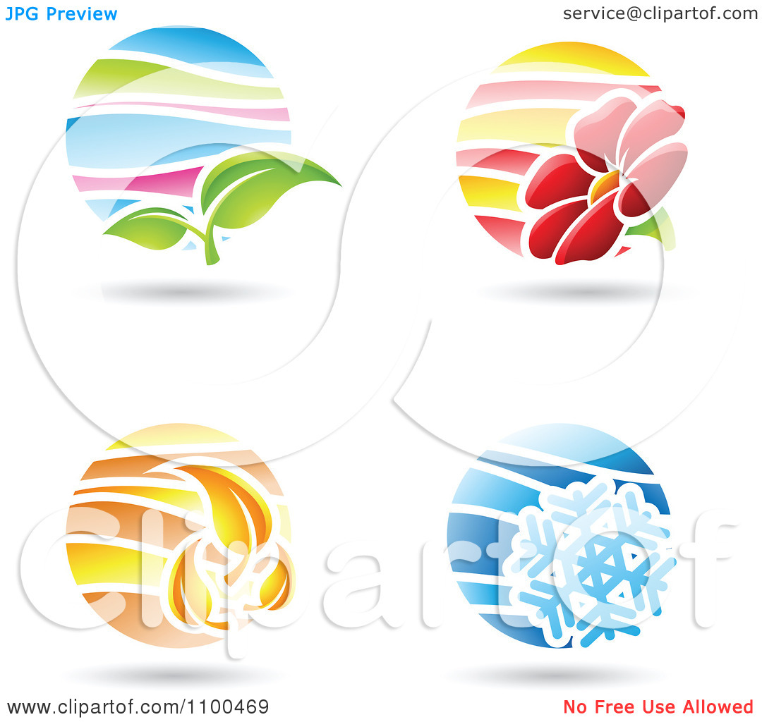Clipart Circular Spring Summer Autumn And Winter Season Icons.