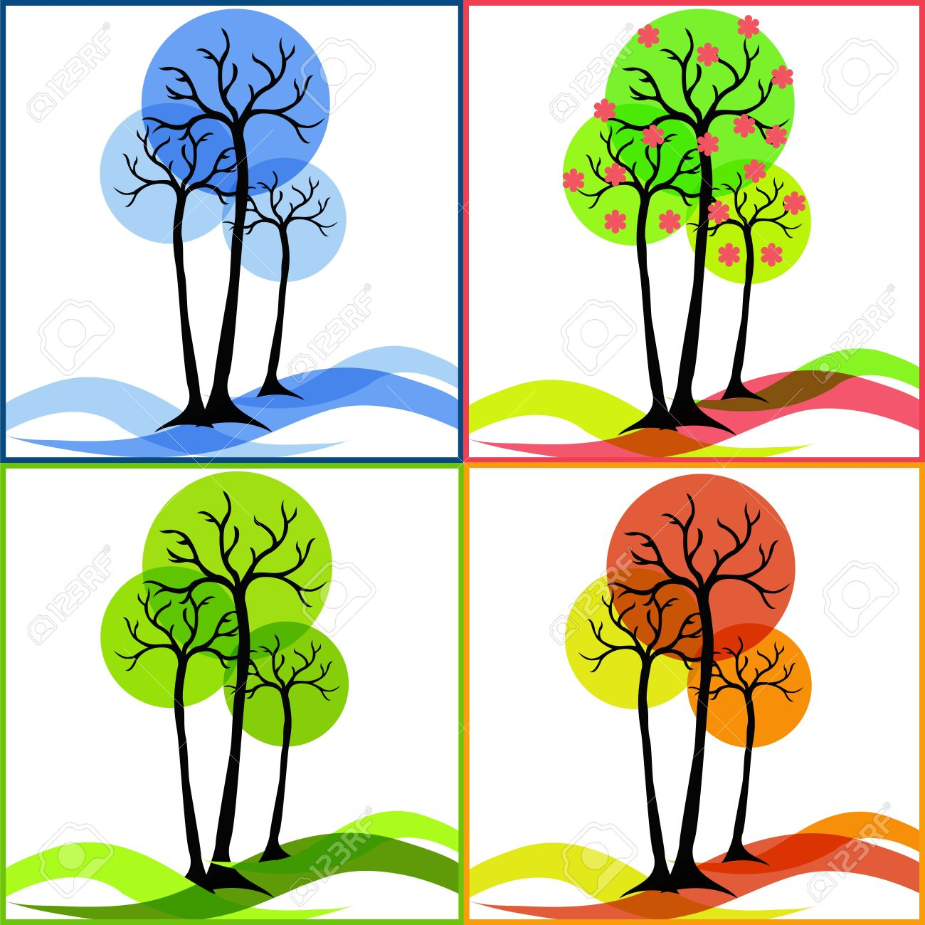 Four Icons With Trees Summer, Fall, Winter, Spring Royalty Free.