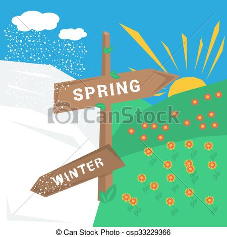 Clip Art Vector of Sign spring winter with cold and warm weather.
