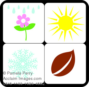 Clip Art Illustration of the Summer Winter Spring and Fall.