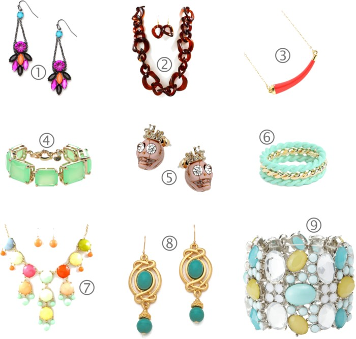 Spring Jewelry Statement Earrings Necklaces.