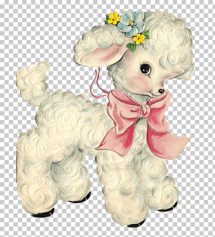 Sheep Paper Vintage clothing Decal , spring forward, white.