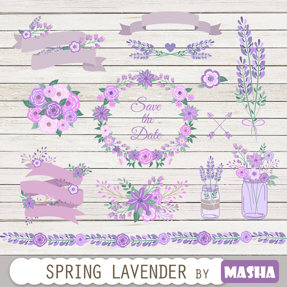 Lavender clipart: SPRING LAVENDER CLIPART with.