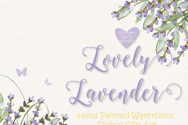 Watercolor Lavender flowers clipart, Watercolor flower, Purple.