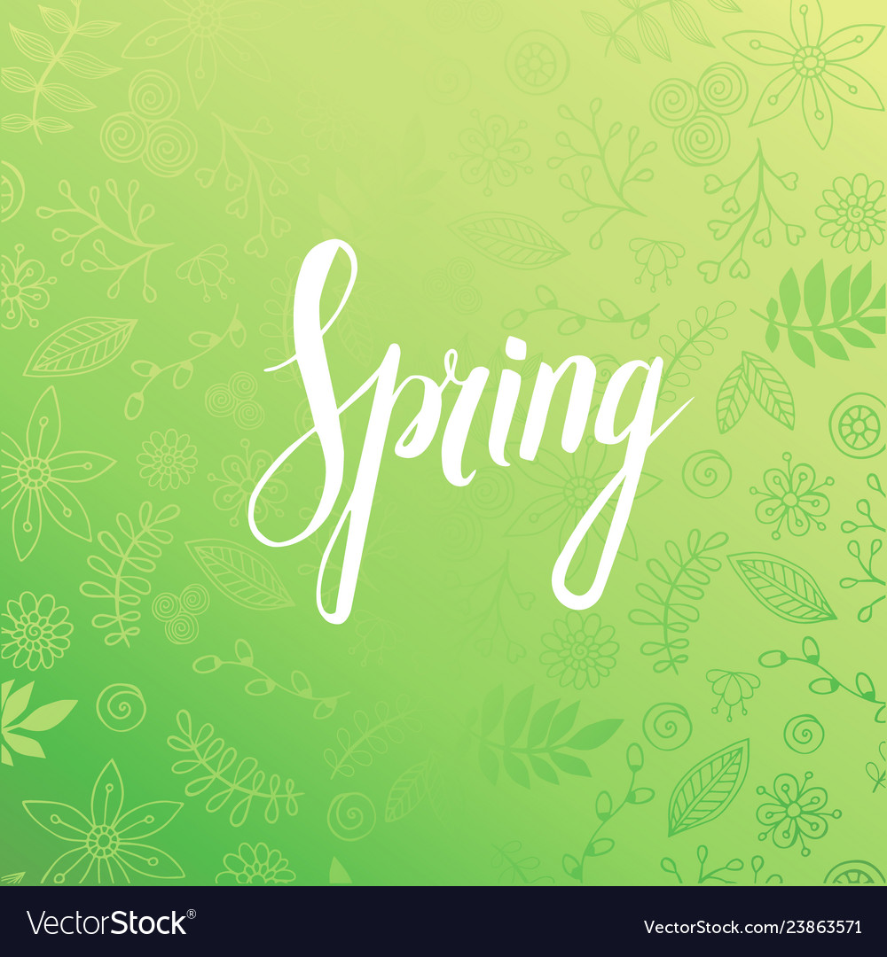 Design banner with spring is here logo.