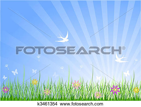 Clipart of Spring Meadow Background k3461354.
