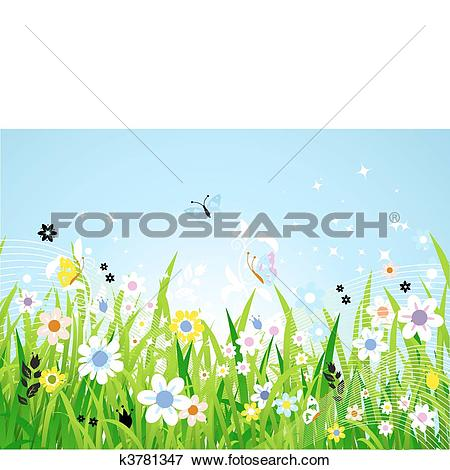 Clip Art of Spring meadow beautiful k3781347.