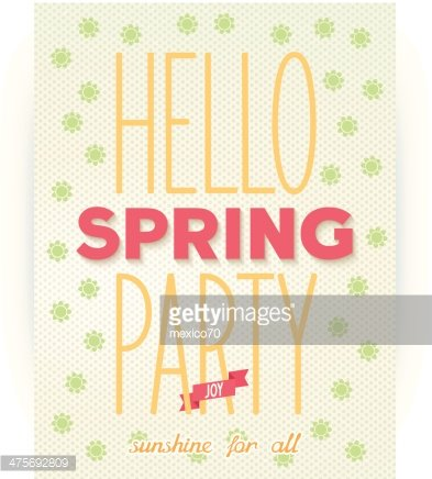 Hello spring party quote poster Clipart Image.