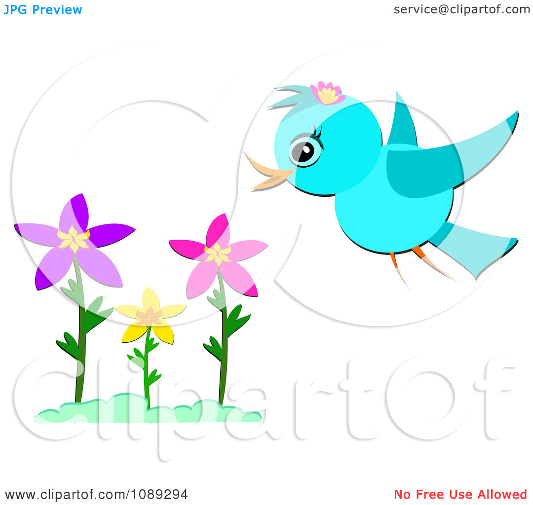 Clip Art Birds And Flowers.