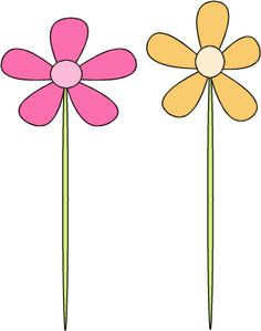 Pink and Purple Flowers Clip Art Image.