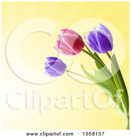 Clipart 3d Spring Tulip Flower Over Yellow.