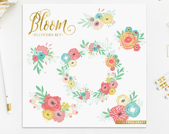 Pink blue yellow and green flowers wedding clipart.