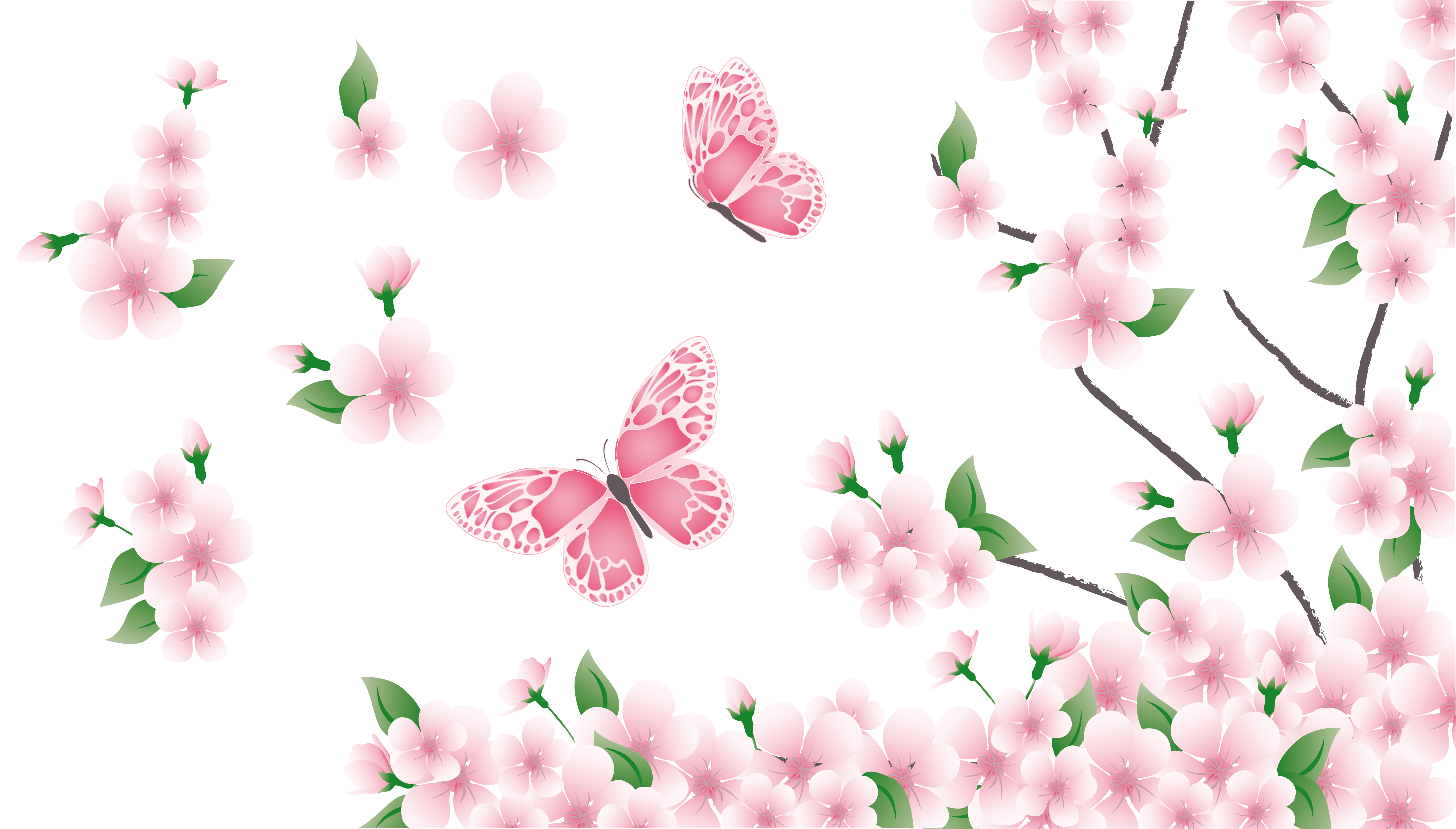 Spring Branch with Pink Flowers and Butterflies PNG Clipart.