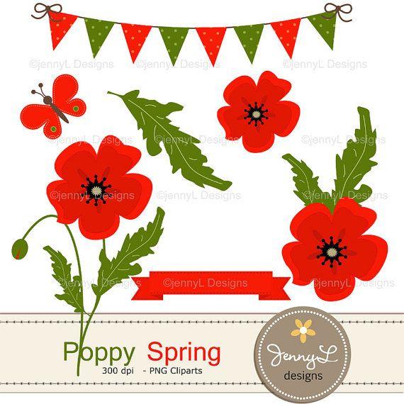 Spring Poppy Flowers Clipart for Birthday, digital Scrapbooking.