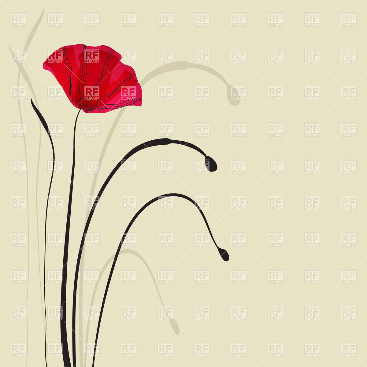 Spring card with poppies Vector Image #23009.