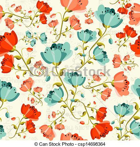 Clip Art Vector of Happy spring Poppy flower pattern.