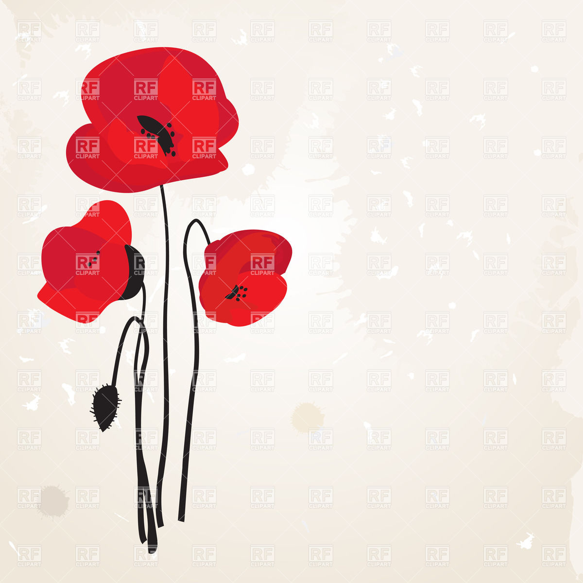 Spring card with poppies Vector Image #22666.