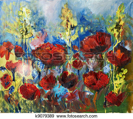 Stock Photograph of oil painting picture of red spring poppy.