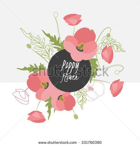 Illustration Poppy Flower/Spring Poppy Flower/Greeting Card Poppy.