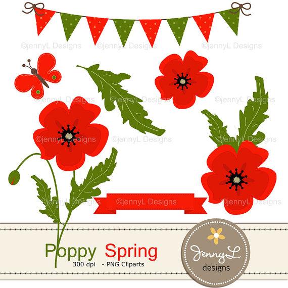 Spring Poppy Flowers Clipart for Birthday digital.