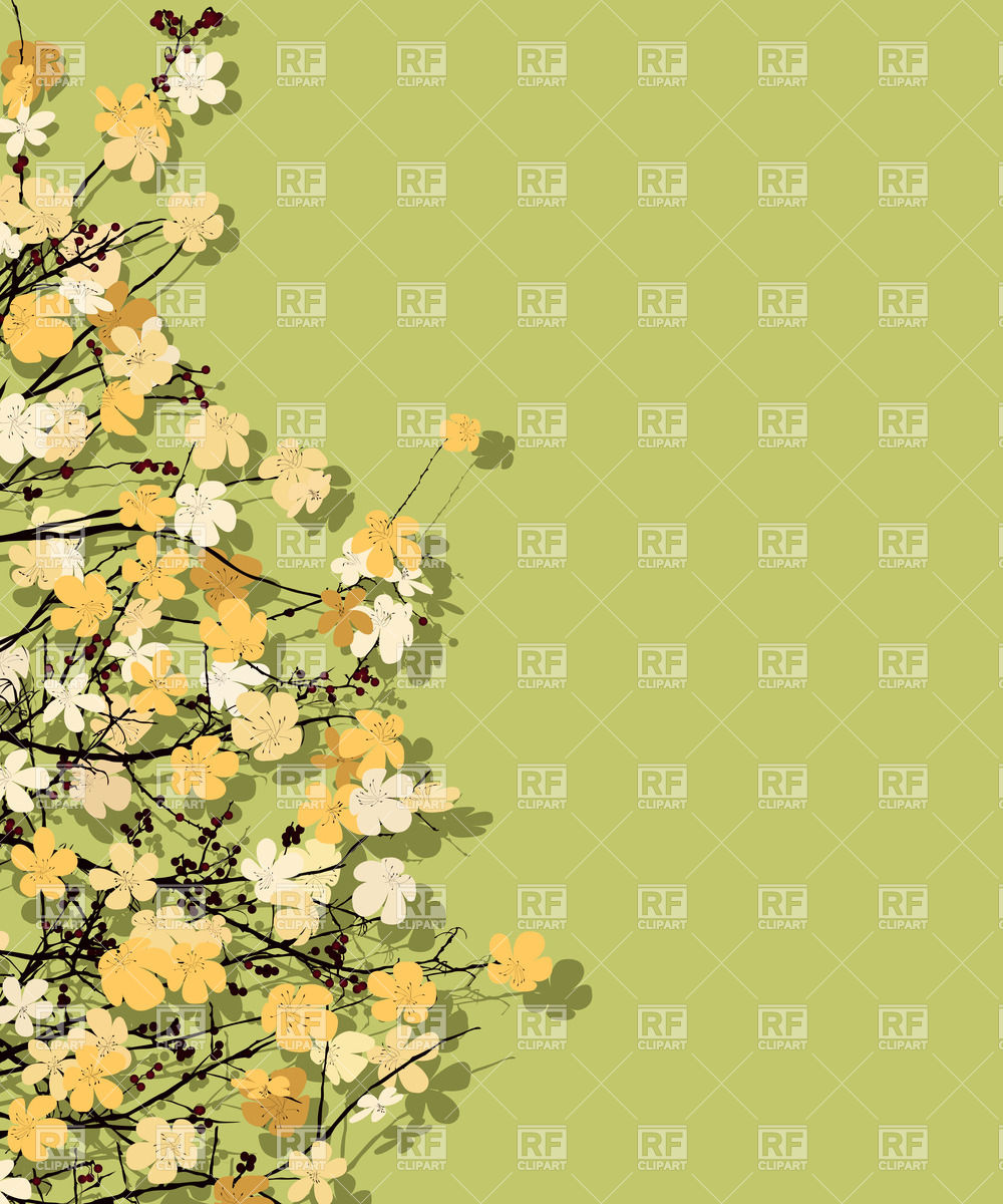 Spring time theme postcard, floral background Vector Image #30483.