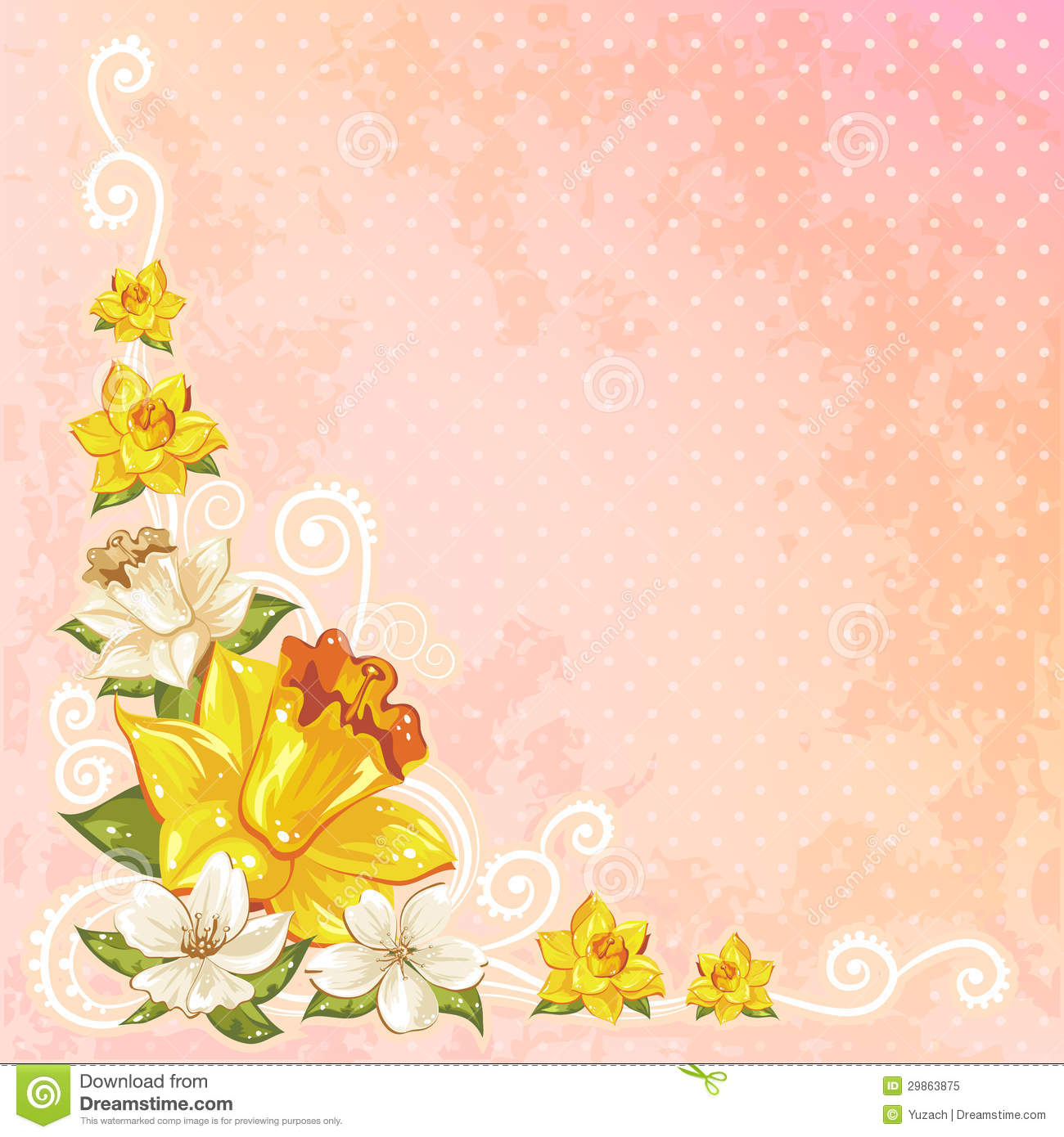 Beautiful Spring Floral Postcard Royalty Free Stock Photo.