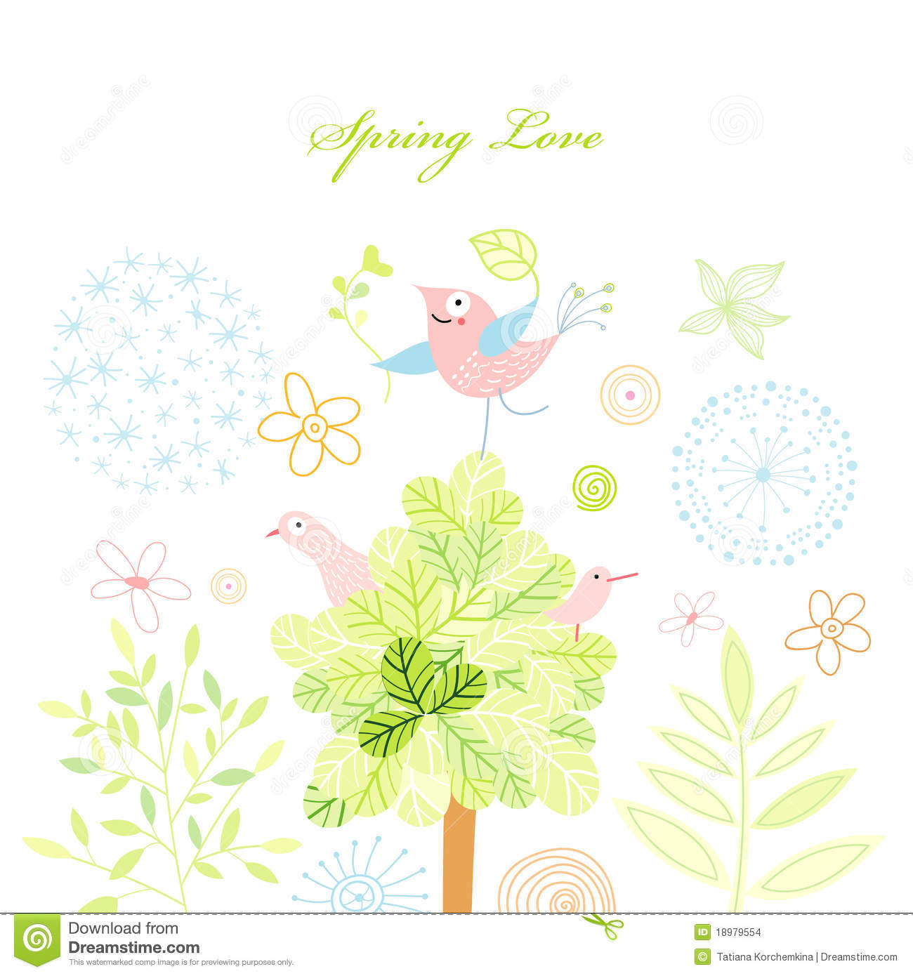 Spring Postcard With A Tree And Birds Stock Images.