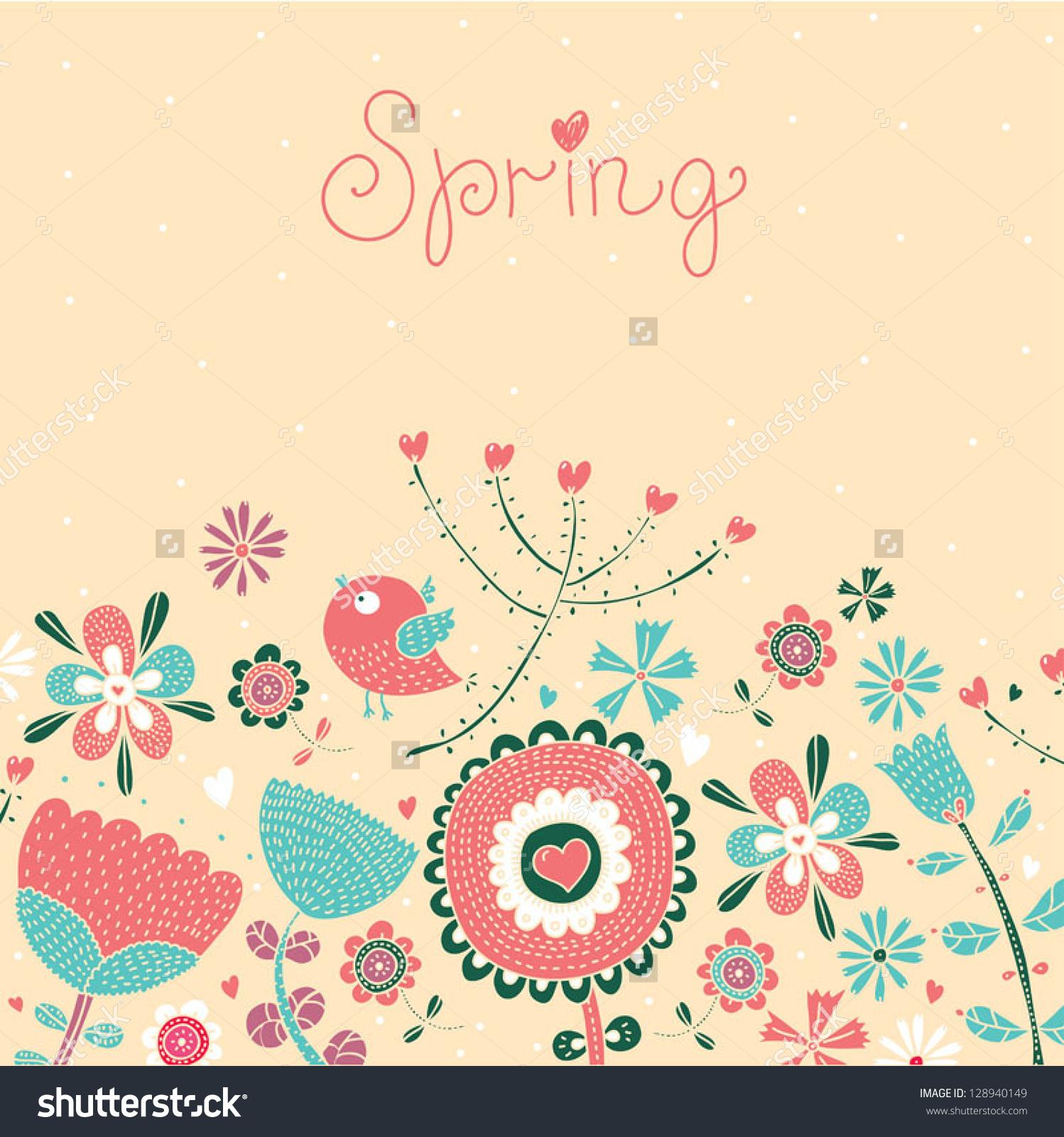 Spring Postcard Stock Vector 128940149.