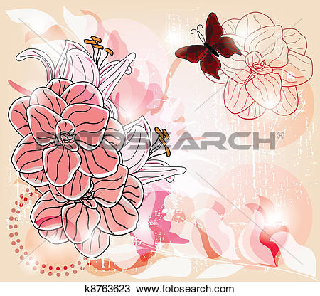 Clipart of colorful spring postcard k8763623.