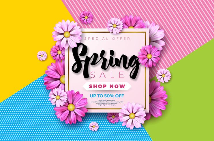Spring sale background design with beautiful colorful flower.