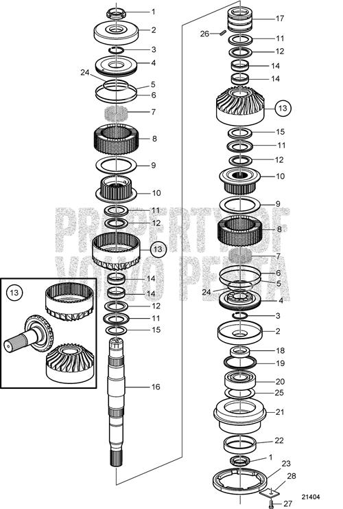 Volvo Penta Exploded view / schematic Upper Gear Set and Shaft IPS.