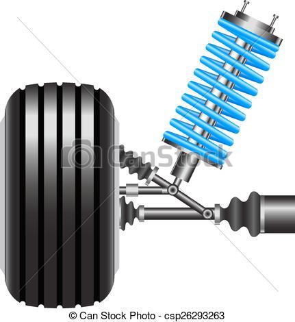 Clip Art Vector of car suspension, frontal view. Vector.