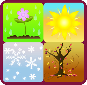 Symbols of the Four Seasons, Winter, Spring, Summer and Fall.