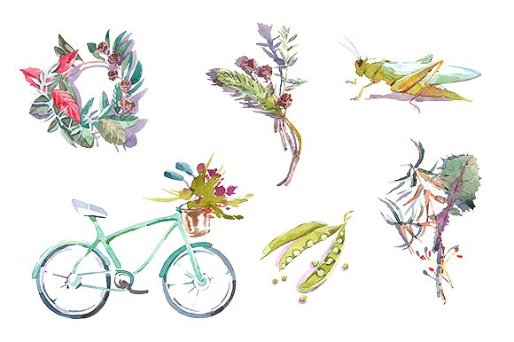 Spring watercolor clipart set ~ Illustrations on Creative Market.