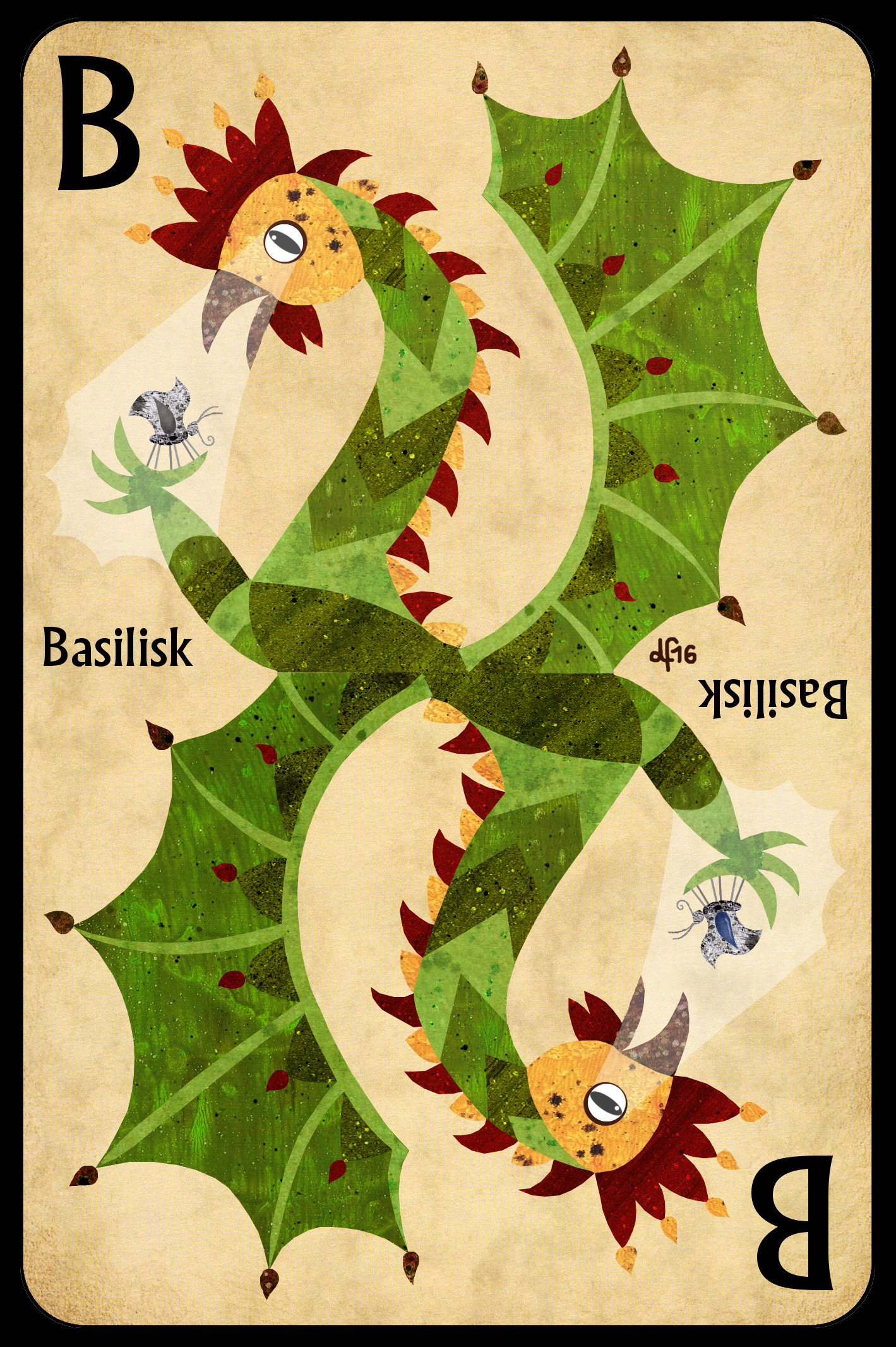 B is for Basilisk +++ Find the blue teardrop! +++ illustration by.