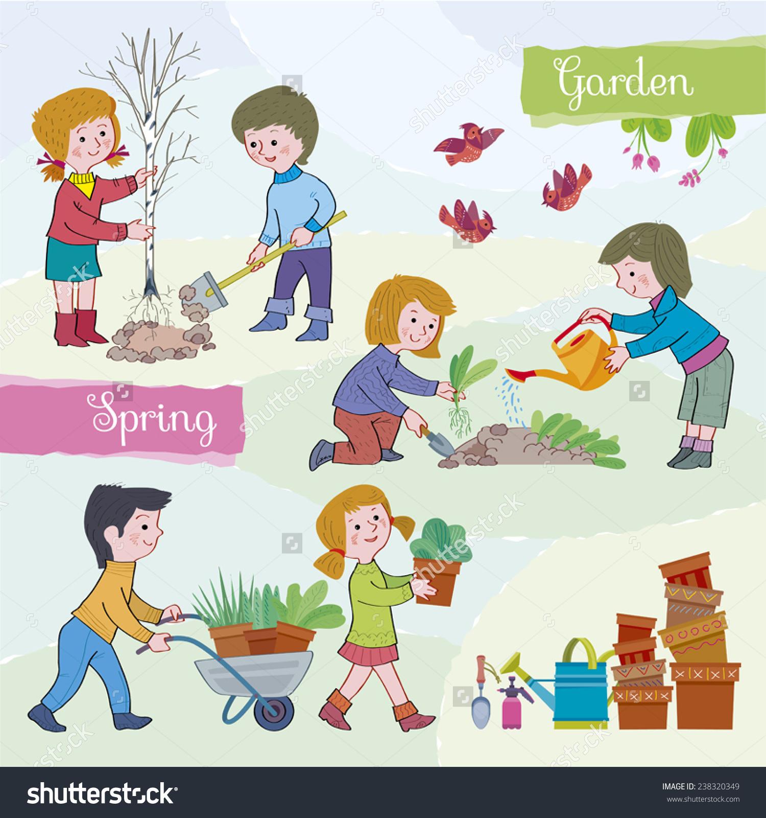 Spring Tidegardenchildren Boys Girls Spring Gardenchildren Stock.